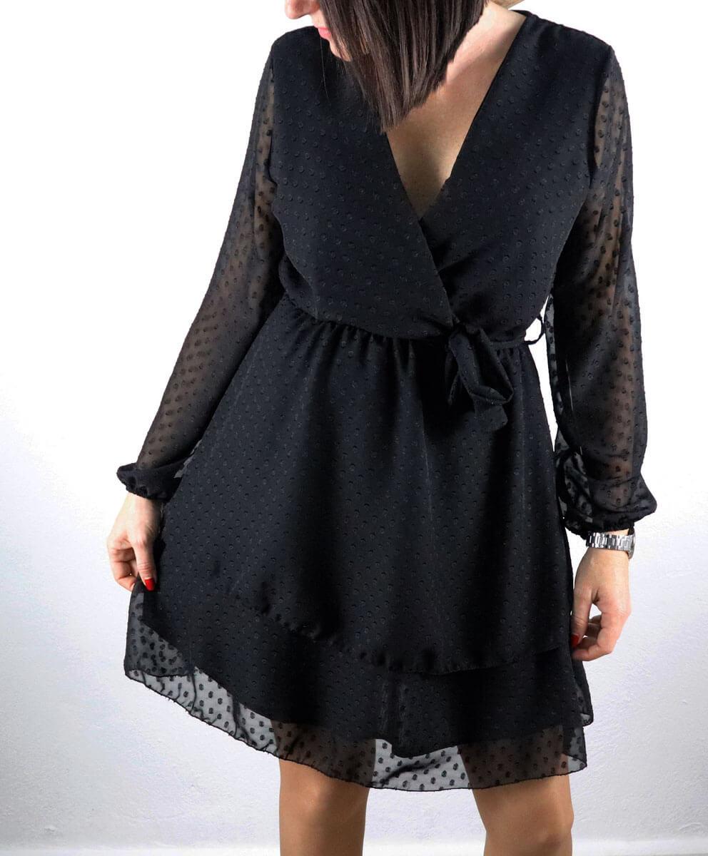 Vestido Gasa Topos Negro