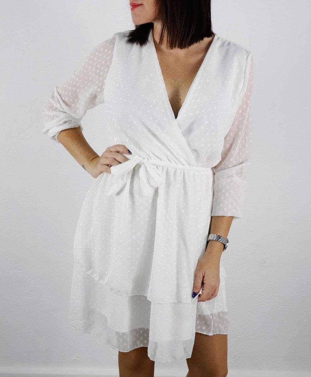 Vestido Gasa Topos Blanco