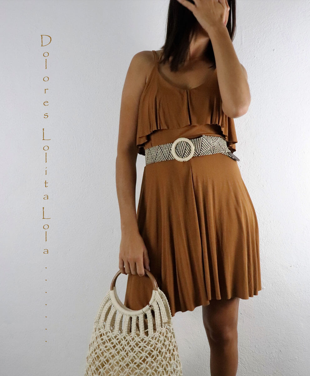 Vestido Volante Camel