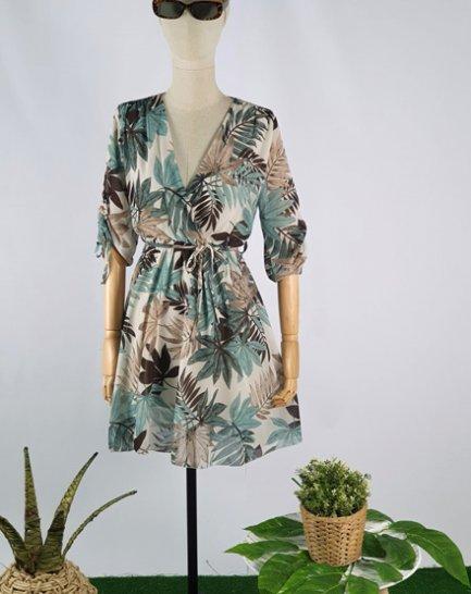 Vestido gasa estampado verde y marrón