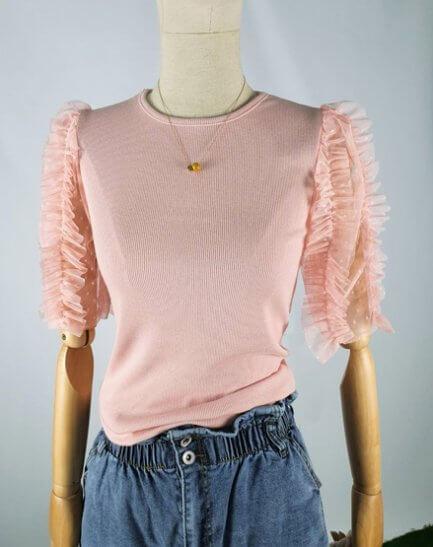 Camiseta manga organza rosa