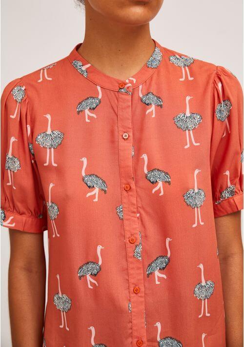 Camisa avestruz cuello mao