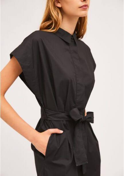 Vestido camisero mangas son costuras en negro