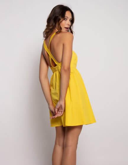 Vestido amarillo popelin espalda cruzada
