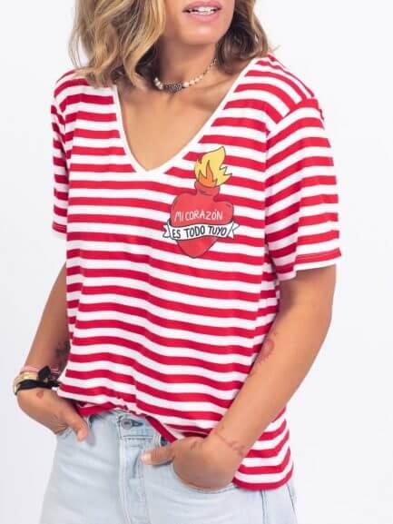 Camiseta rayas mi corazón es todo tuyo