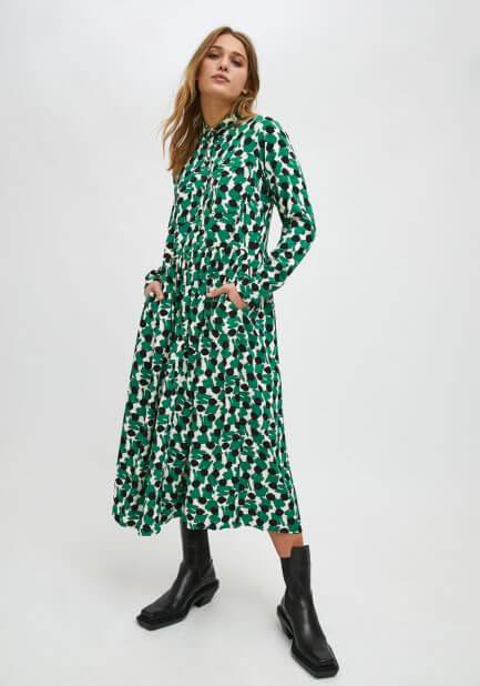 Vestido camisero estampado verde